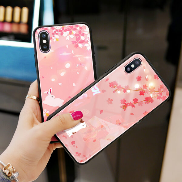 Pink Painted iPhone X Case Cover With Lanyard IPS113_5