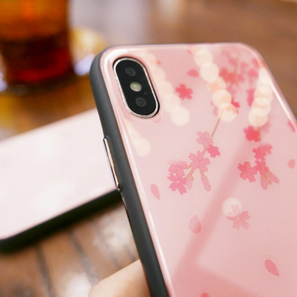 Pink Painted iPhone X XS Case Cover With Lanyard IPS113_7