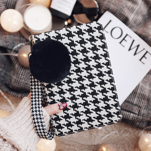 Plaid Pattern Cover For 2018 New iPad Pro Mini Air With Rabbit Hair Ball IPPC09_2