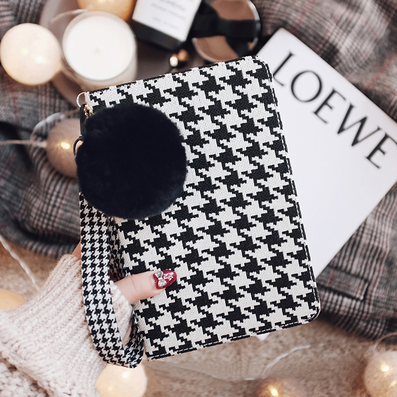 Plaid Pattern Cover For 2019 New iPad Pro Mini Air With Rabbit Hair Ball IPPC09_2