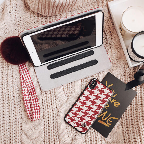 Plaid Pattern Cover For 2018 New iPad Pro Mini Air With Rabbit Hair Ball IPPC09_3