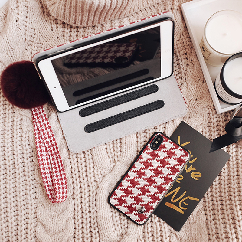 Plaid Pattern Cover For 2019 New iPad Pro Mini Air With Rabbit Hair Ball IPPC09_3