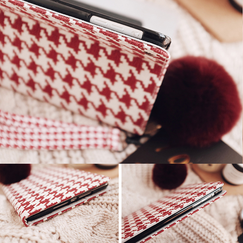 Plaid Pattern Cover For 2019 New iPad Pro Mini Air With Rabbit Hair Ball IPPC09_4