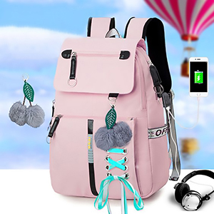Fashion School Bag Backpack For Girl With Headset And Charging Interface MFB22