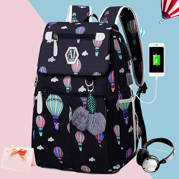 Fashion School Bag Backpack For Girl With Headset And Charging Interface MFB22_2