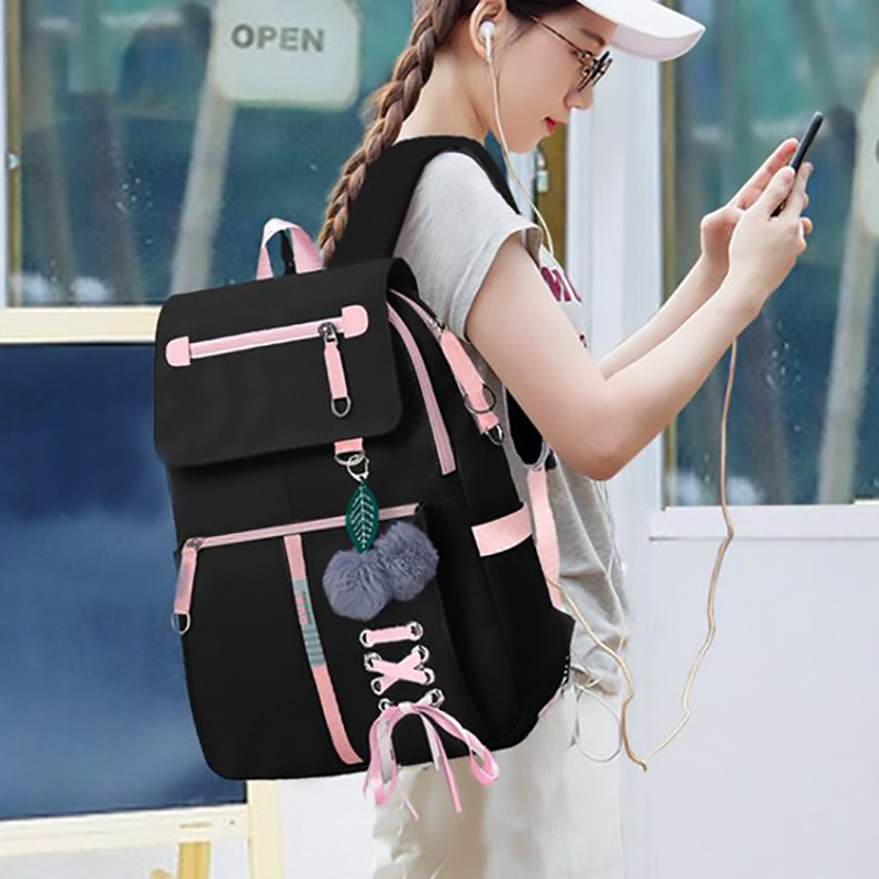 Fashion School Bag Backpack For Girl With Headset And Charging Interface MFB22_3