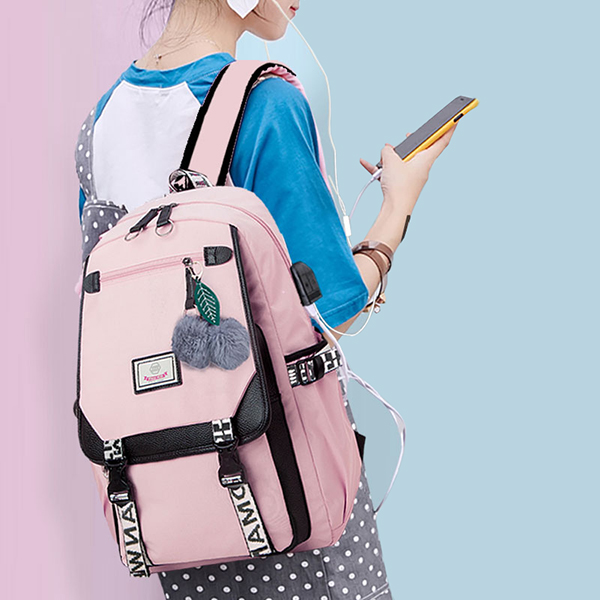 Fashion School Bag Backpack For Girl With Headset And Charging Interface MFB22_4