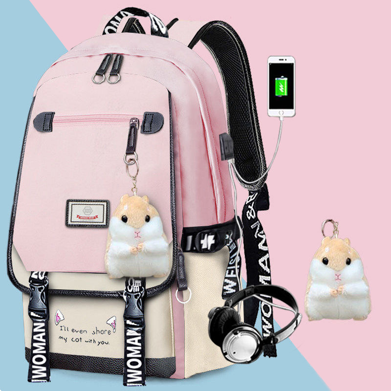 Fashion School Bag Backpack For Girl With Headset And Charging Interface MFB22_5