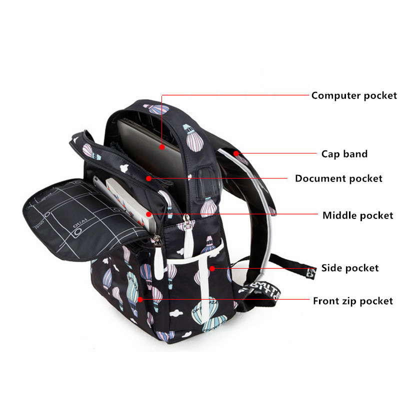 Fashion School Bag Backpack For Girl With Headset And Charging Interface MFB22_8