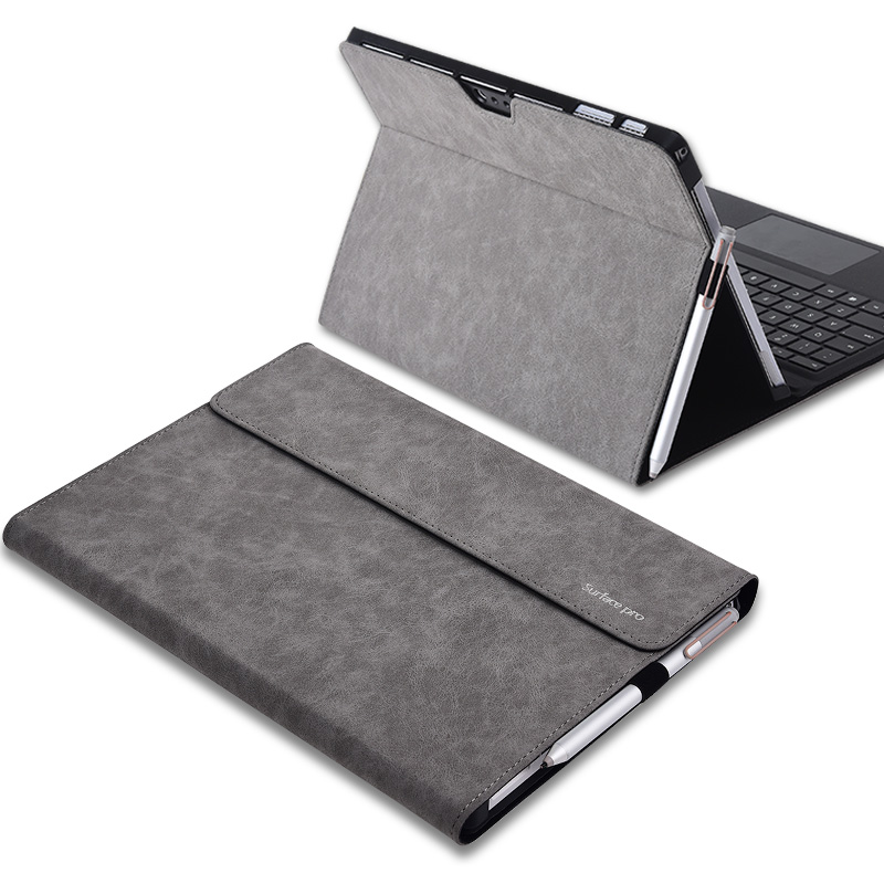Protective Leather Surface Pro 6 5 4 12.3 Inch Cover With Pen Cap SPC13