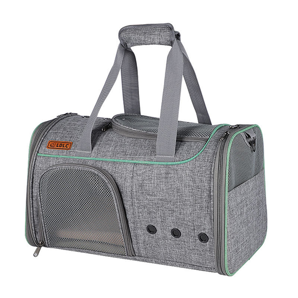 Breathable Leather Pet Handbag With Transparent Side Window MFB53_2