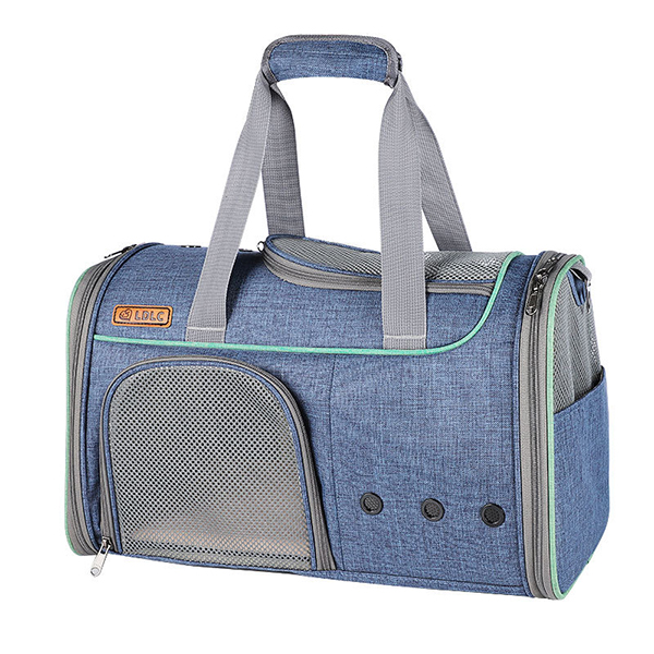 Breathable Leather Pet Handbag With Transparent Side Window MFB53_3
