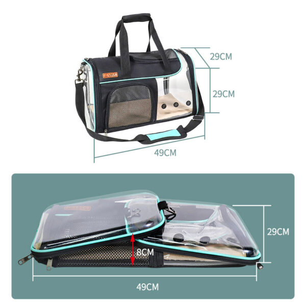 Breathable Leather Pet Handbag With Transparent Side Window MFB53_8